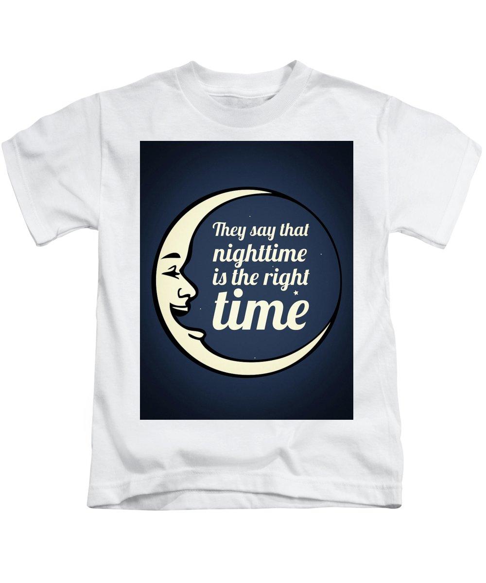 Nighttime Kids T-Shirt featuring the digital art Bob Dylan Song Lyrics Quotes Art Typography by Wall Art Prints