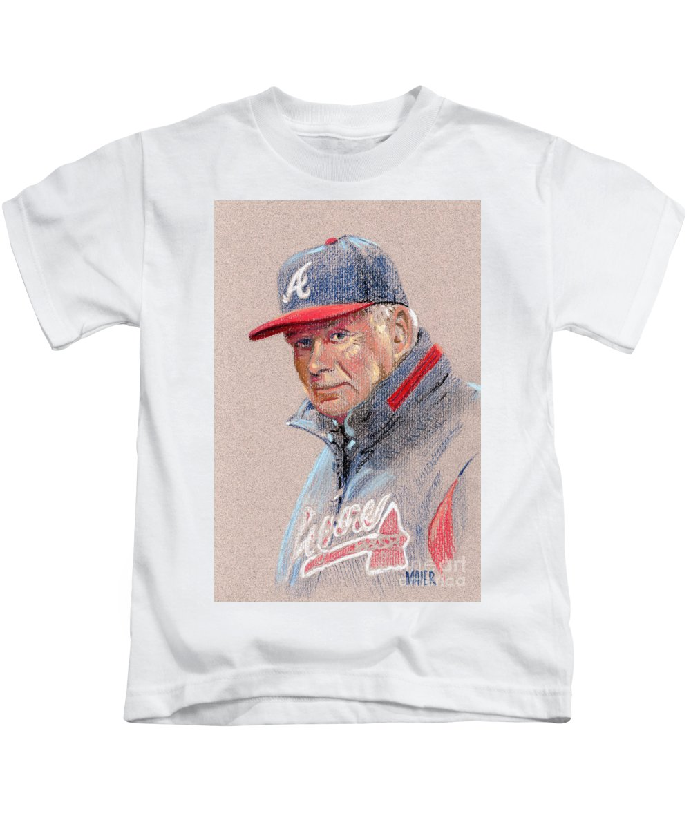 Bobby Cox Kids T-Shirt featuring the drawing Bobby Cox by Donald Maier