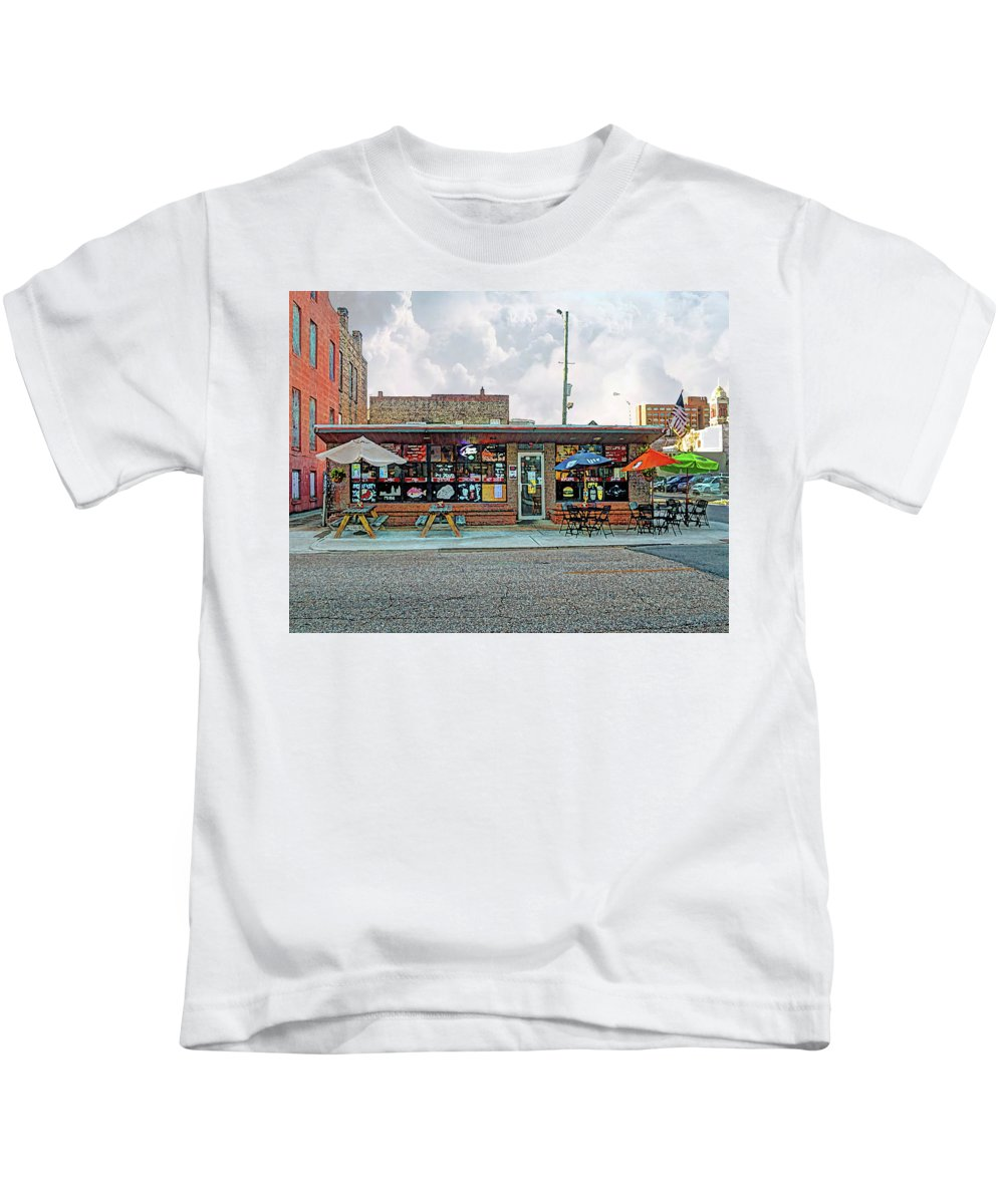 Mobile Kids T-Shirt featuring the digital art Bobs Downtown Diner Front Door by Michael Thomas