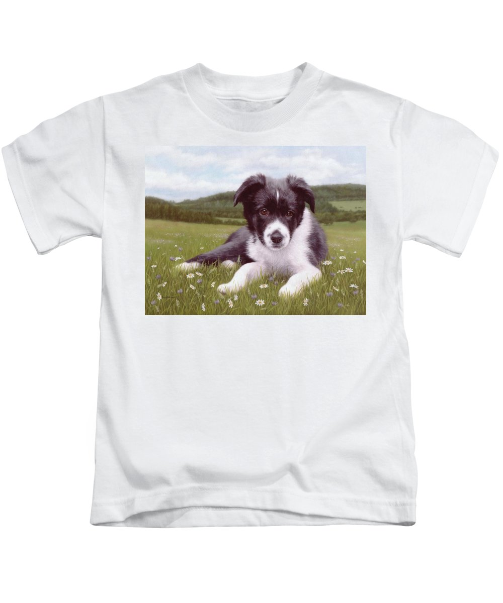 Dog Kids T-Shirt featuring the painting Border Collie Puppy Painting by Rachel Stribbling