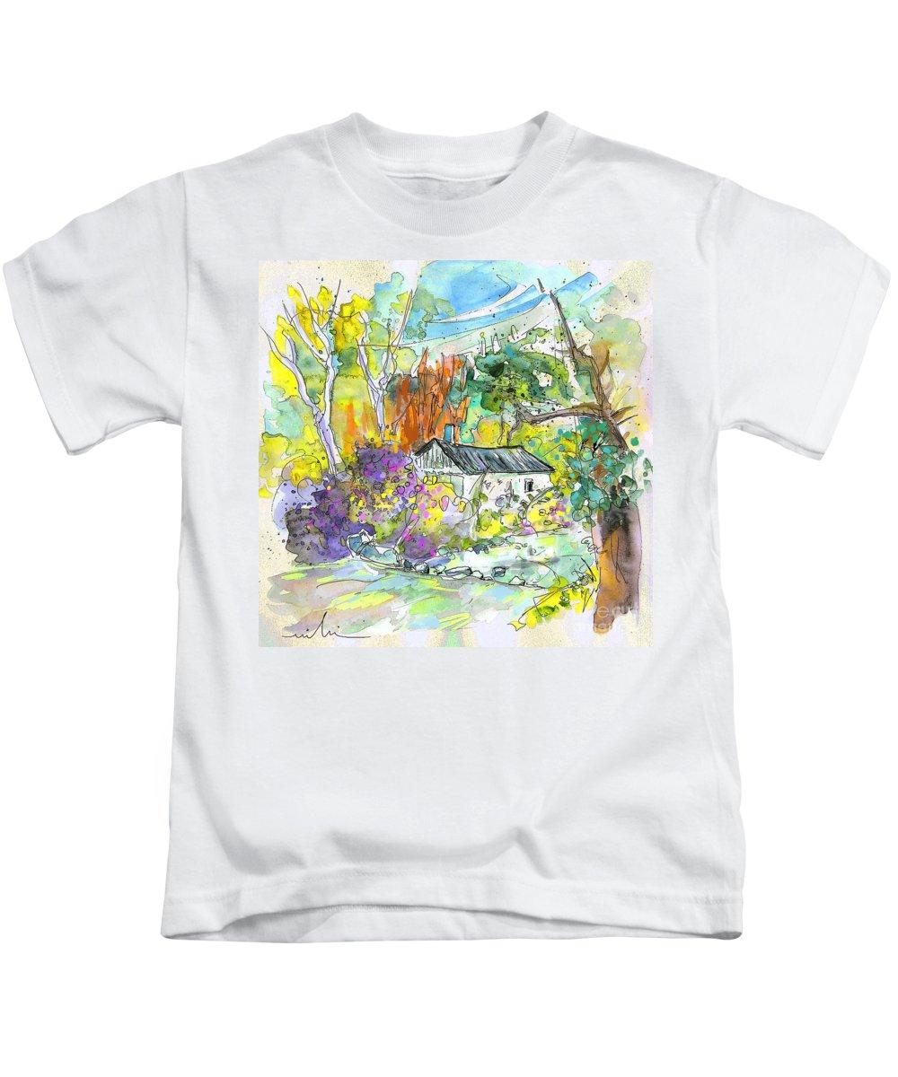 Borderes Kids T-Shirt featuring the painting Borderes Sur Echez 02 by Miki De Goodaboom