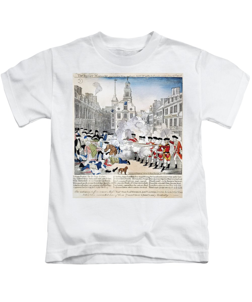 1770 Kids T-Shirt featuring the photograph Boston Massacre, 1770 by Granger