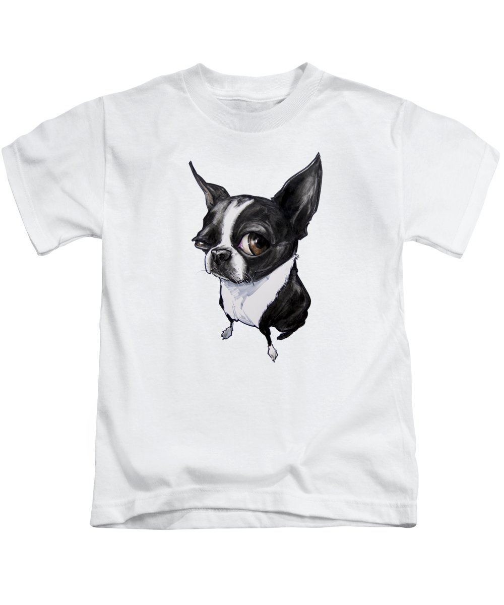 Boston Terrier Kids T-Shirt featuring the drawing Boston Terrier by John LaFree