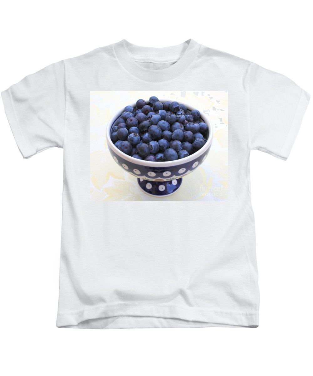 Blueberries Kids T-Shirt featuring the photograph Bowl Of Blueberries by Carol Groenen