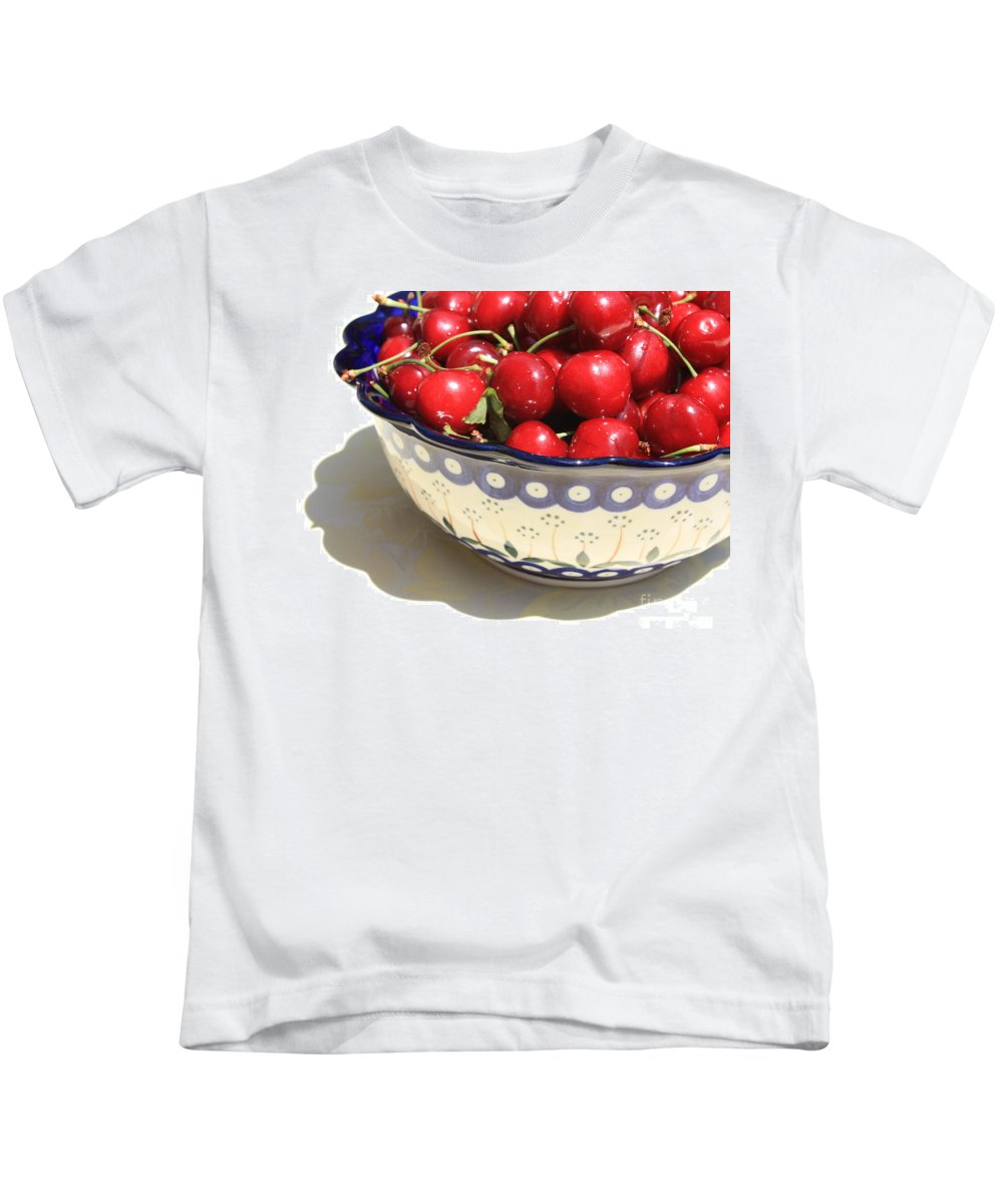 Cherries Kids T-Shirt featuring the photograph Bowl Of Cherries With Shadow by Carol Groenen