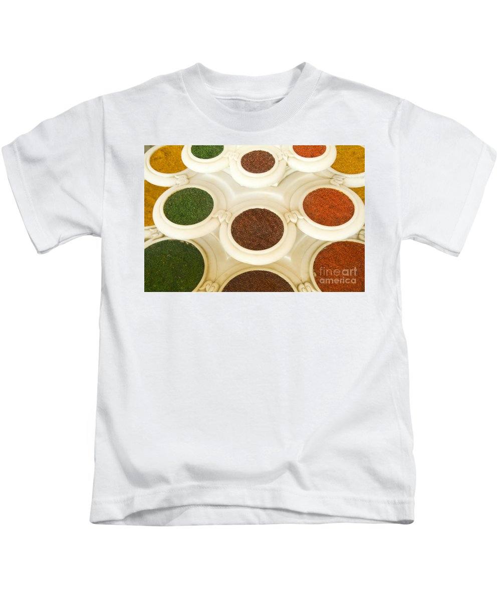 Abstract Kids T-Shirt featuring the photograph Bowls Of Spices - India by Bill Bachmann - Printscapes