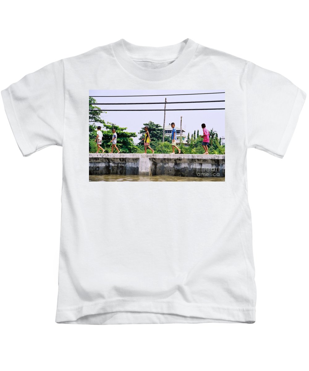 Children Kids T-Shirt featuring the photograph Boys In Bangkok by Mary Rogers
