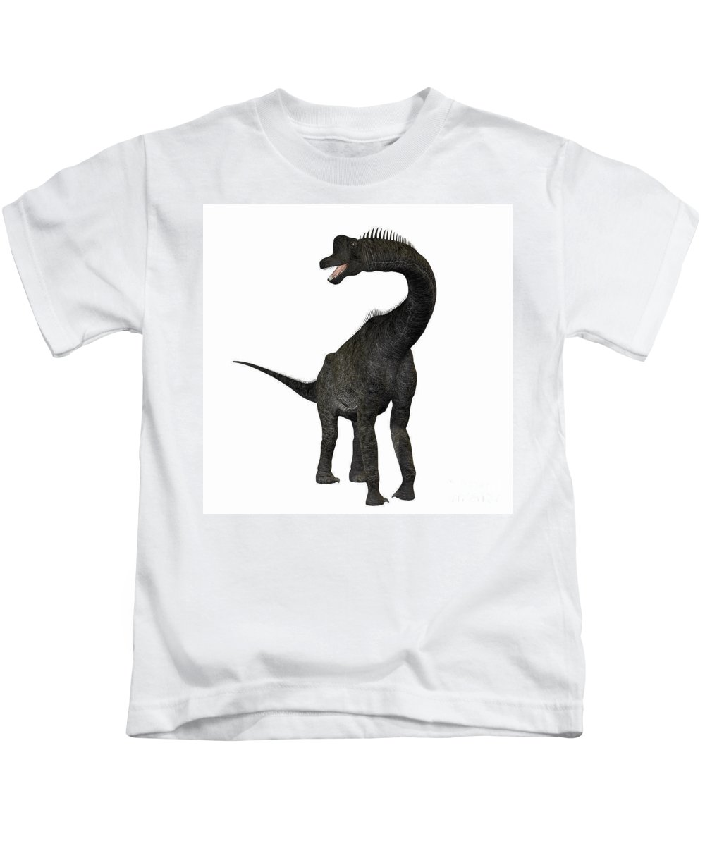 Brachiosaurus Kids T-Shirt featuring the painting Brachiosaurus by Corey Ford