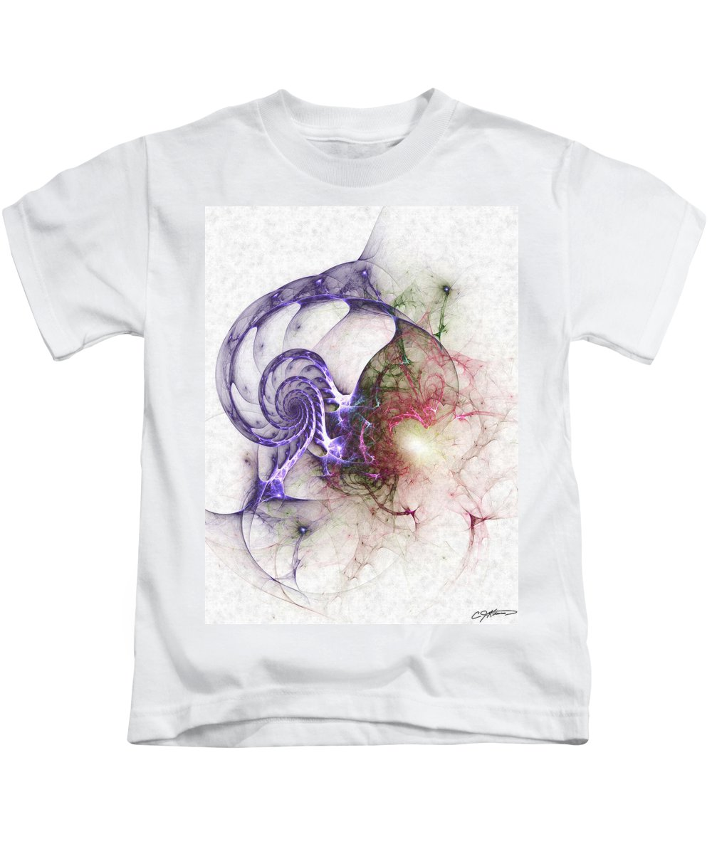 Abstract Kids T-Shirt featuring the digital art Brain Damage by Casey Kotas