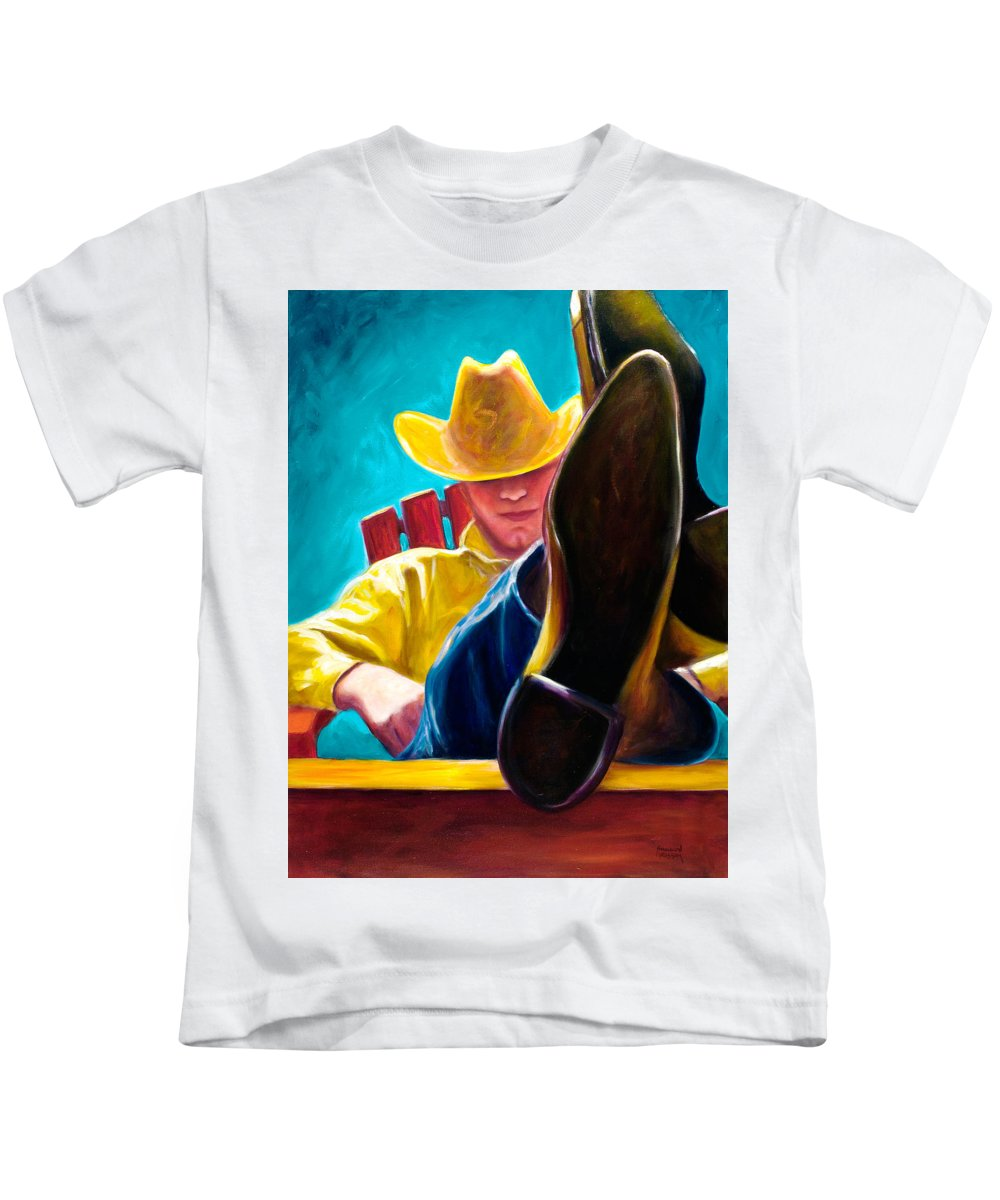 Western Kids T-Shirt featuring the painting Break Time by Shannon Grissom