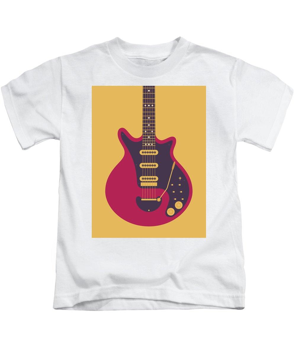 Guitar Kids T-Shirt featuring the digital art Red Special Guitar - Gold by Ivan Krpan