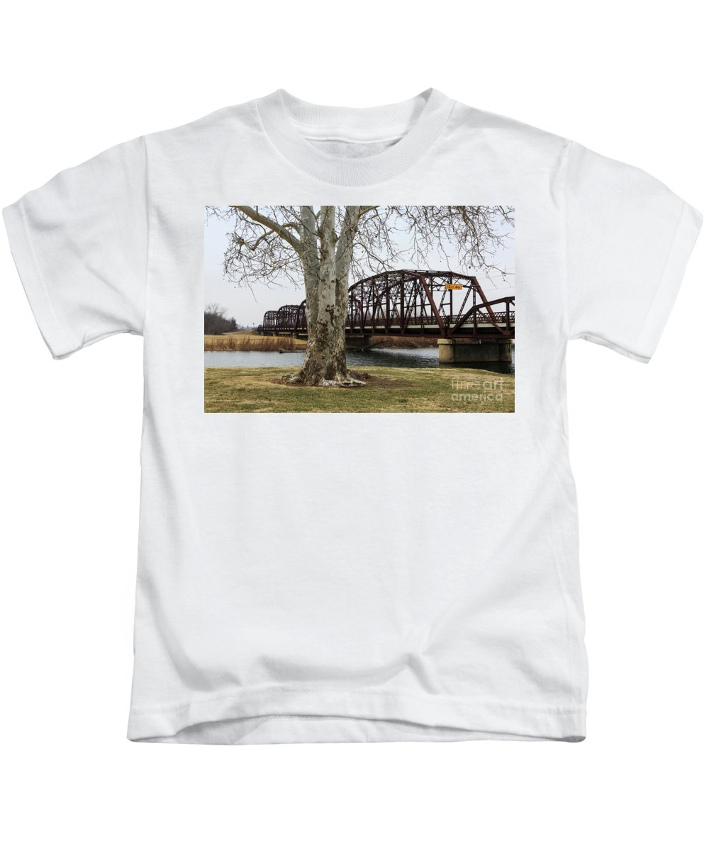 Bridge Kids T-Shirt featuring the photograph Bridge By The Tree by Terri Morris