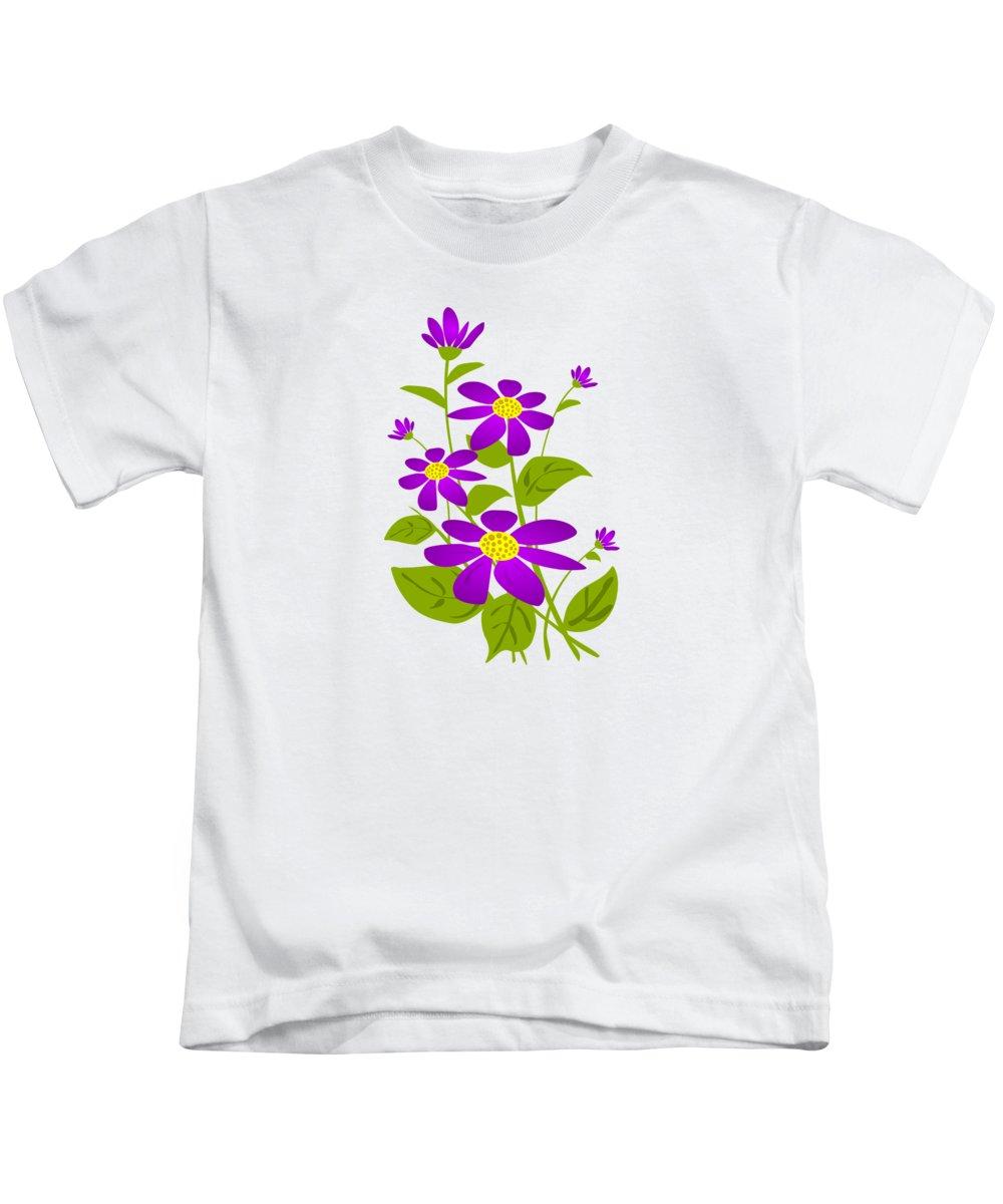 Plant Kids T-Shirt featuring the digital art Bright Purple by Anastasiya Malakhova
