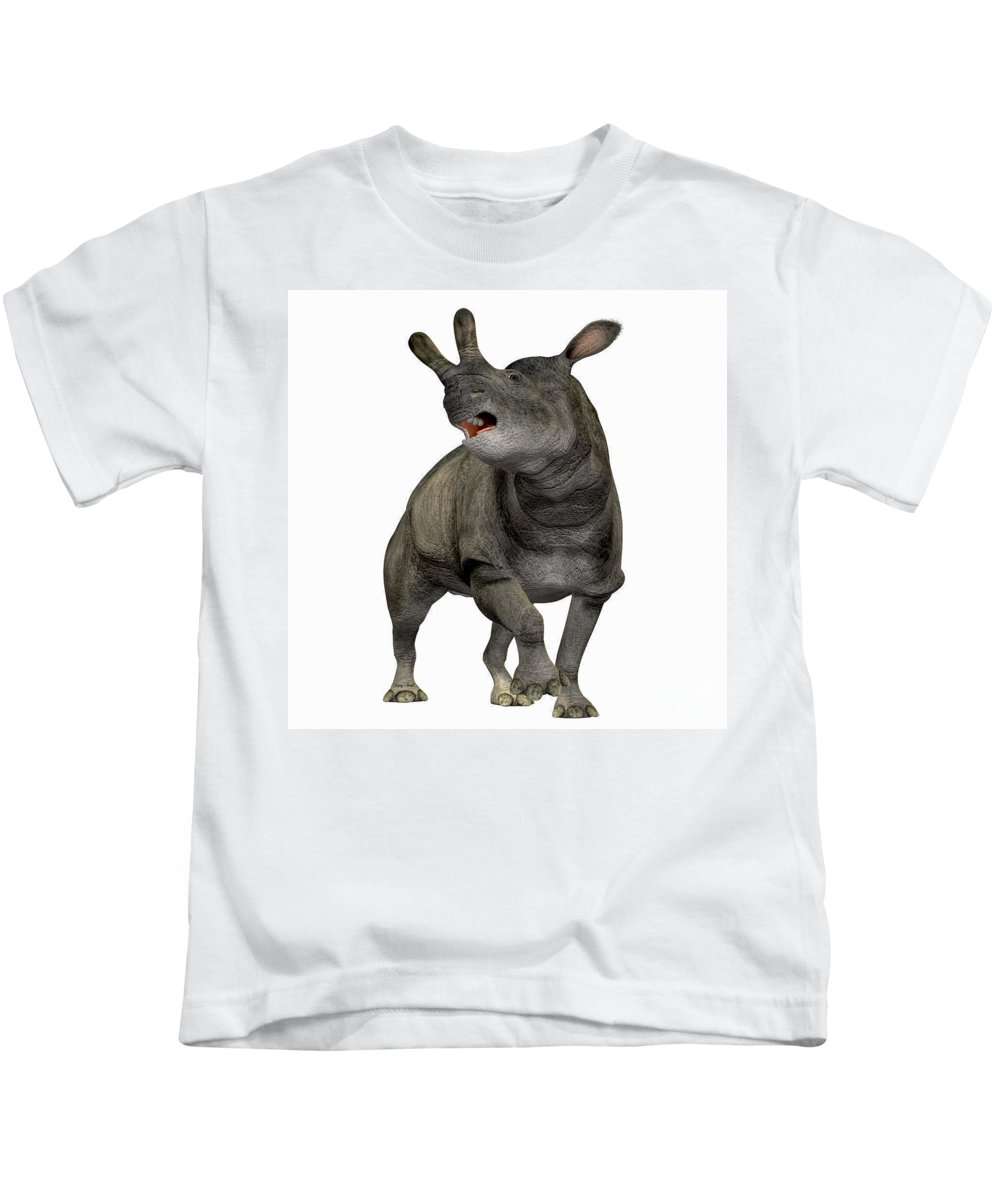 Brontotherium Kids T-Shirt featuring the painting Brontotherium Profile by Corey Ford