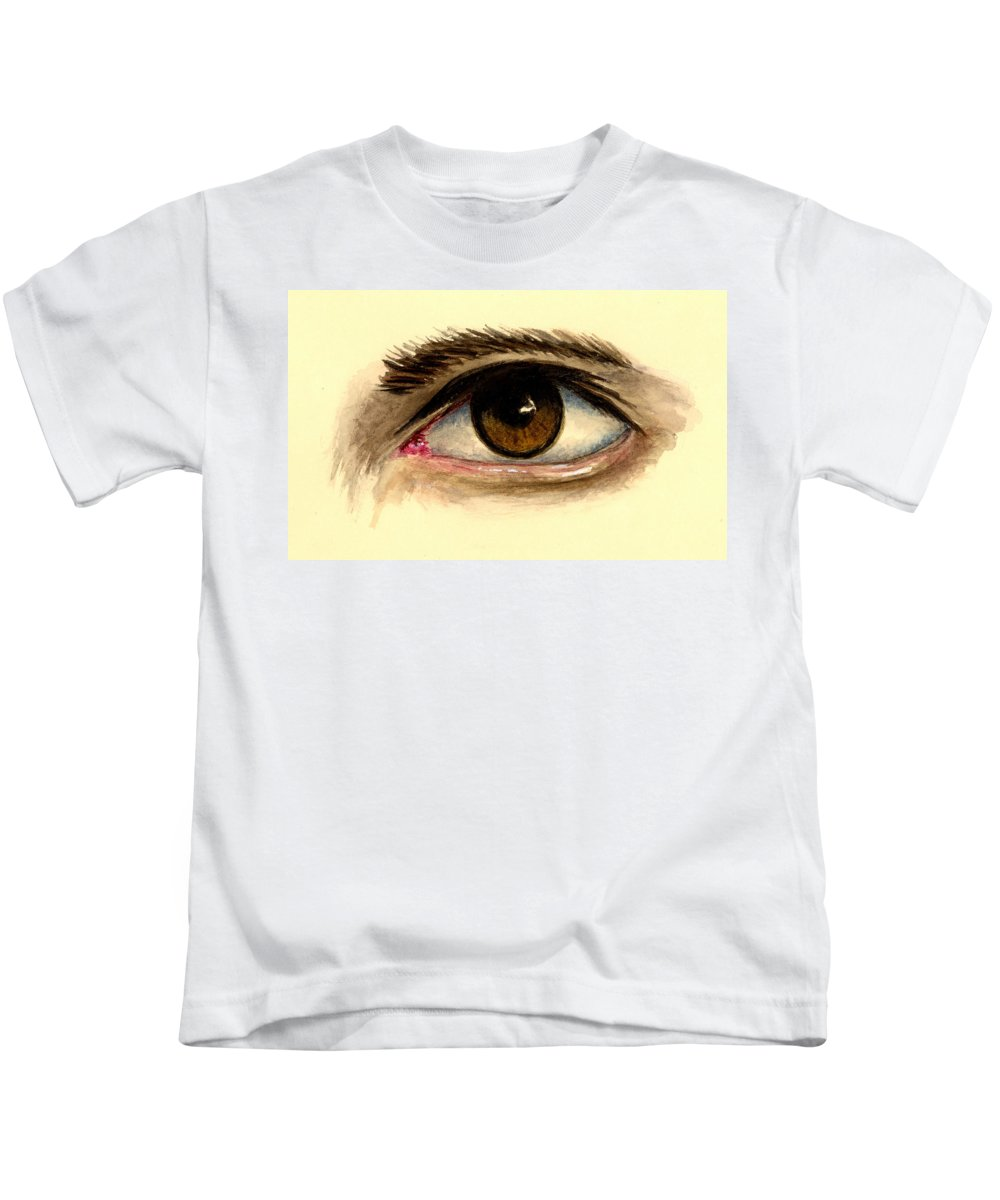 Eye Kids T-Shirt featuring the painting Brown Eye by Michael Vigliotti