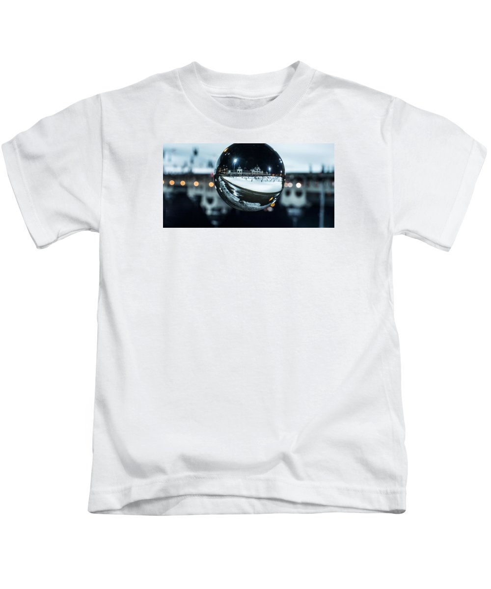 Budapest Kids T-Shirt featuring the photograph Budapest Globe - City Park Ice Rink by Gabor Tokodi