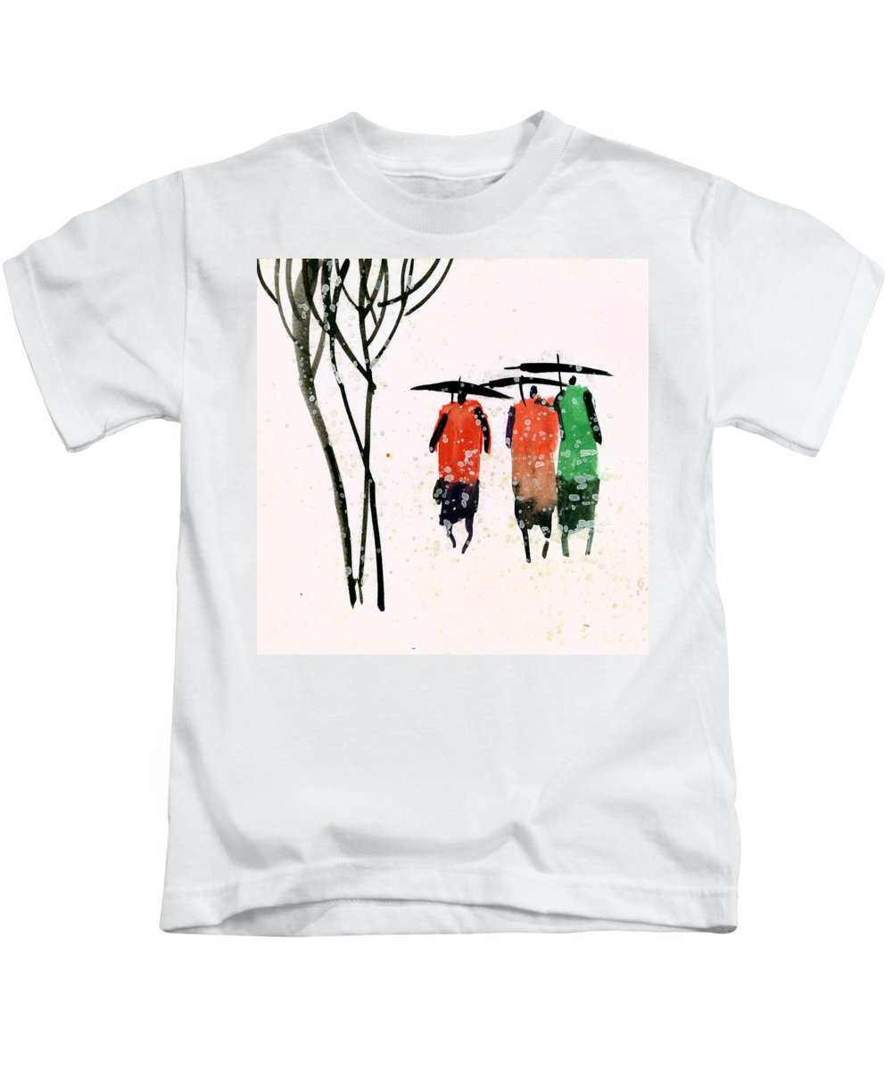 People Kids T-Shirt featuring the painting Buddies 3 by Anil Nene
