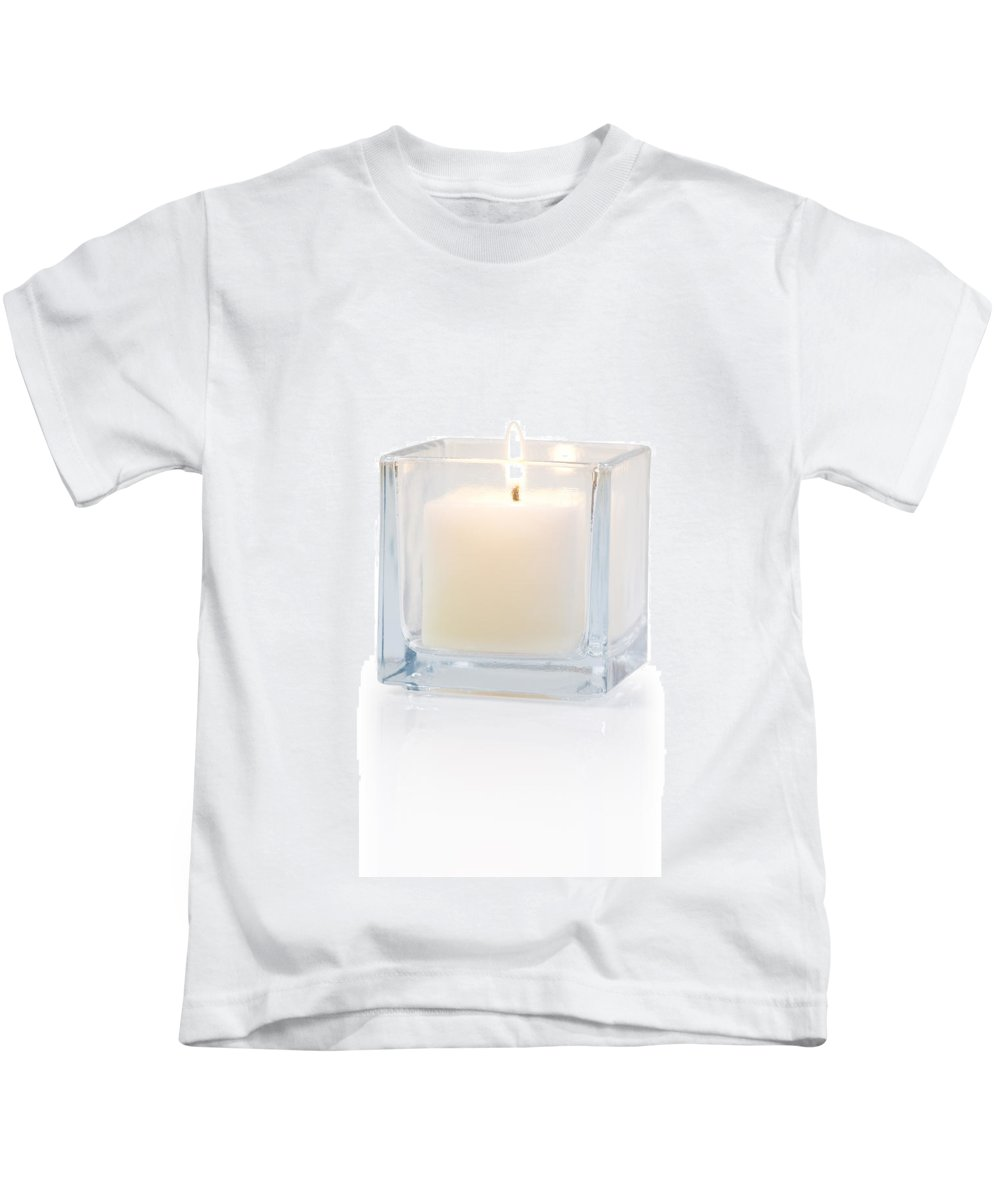 Candle Kids T-Shirt featuring the photograph Burning Candle Side View 20 Degree by Atiketta Sangasaeng