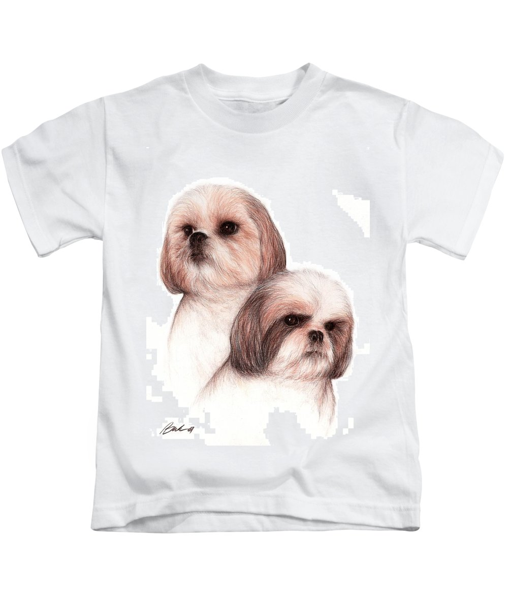 Dog Art Bruce Lennon Animals Kids T-Shirt featuring the painting Butch And Bruser by Bruce Lennon
