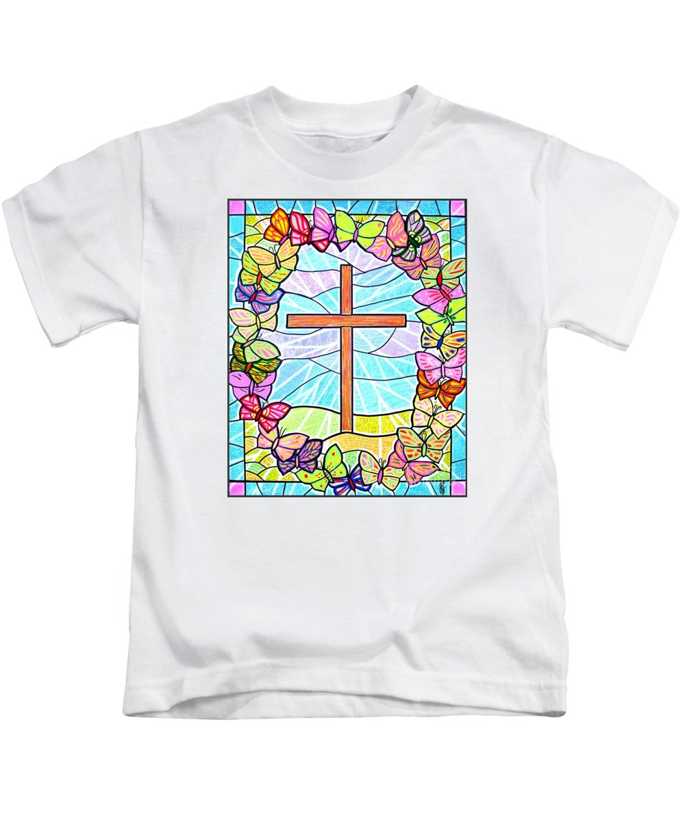 Easter Kids T-Shirt featuring the painting Butterflies And Cross by Jim Harris