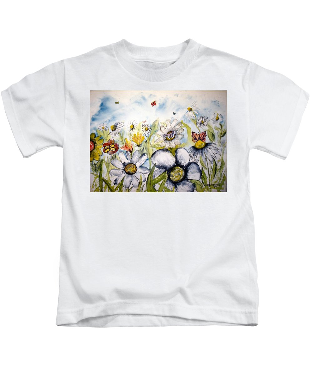 Butterfly Kids T-Shirt featuring the painting Butterflies and Flowers by Derek Mccrea