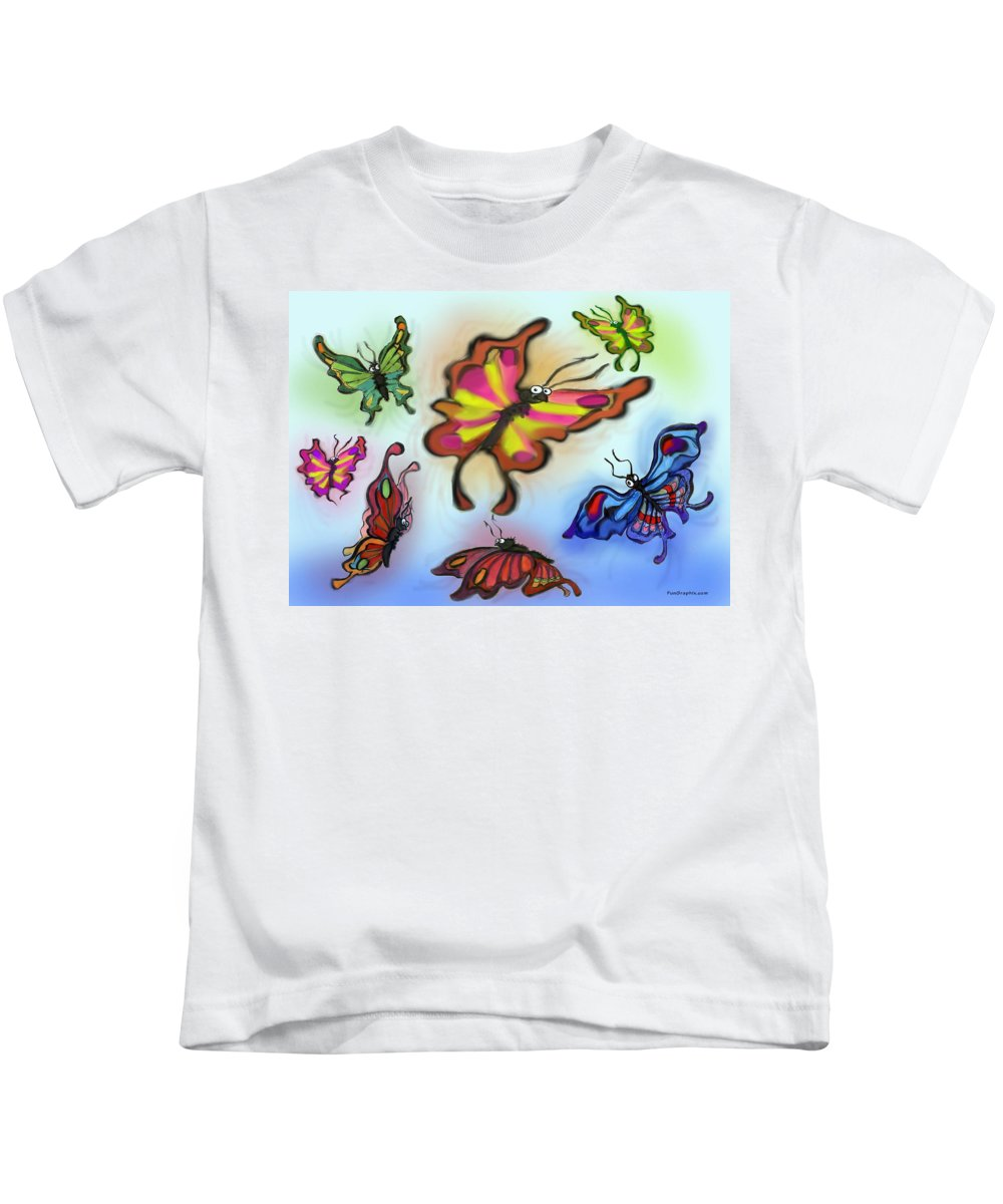 Butterfly Kids T-Shirt featuring the digital art Butterflies by Kevin Middleton