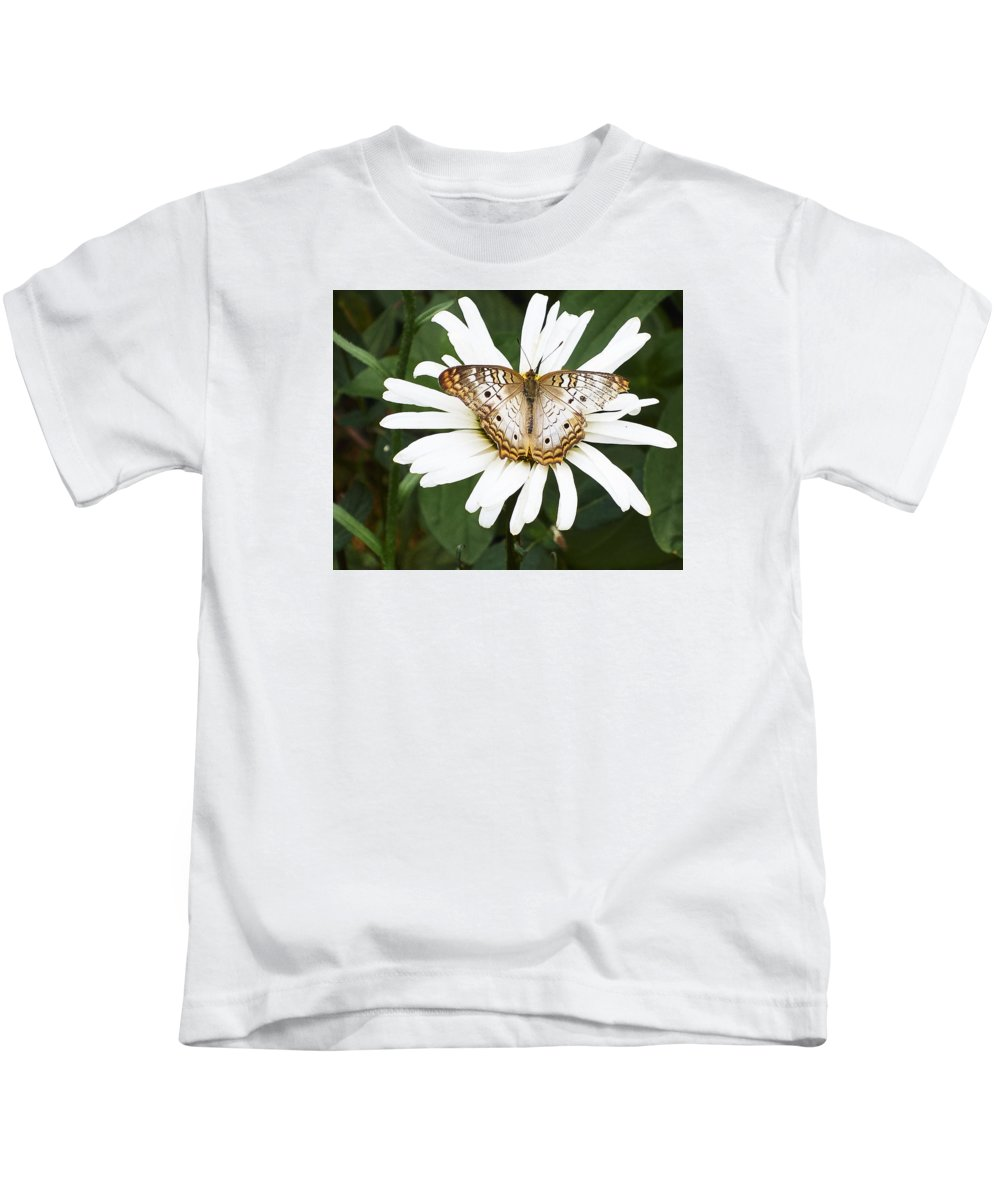 Butterfly Kids T-Shirt featuring the photograph Butterfly And Flower by Steve Ondrus