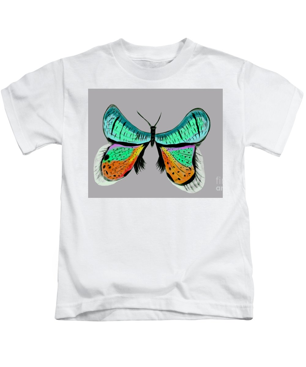 Digital Painting Kids T-Shirt featuring the digital art Butterfly Commission by Bryan Fuller