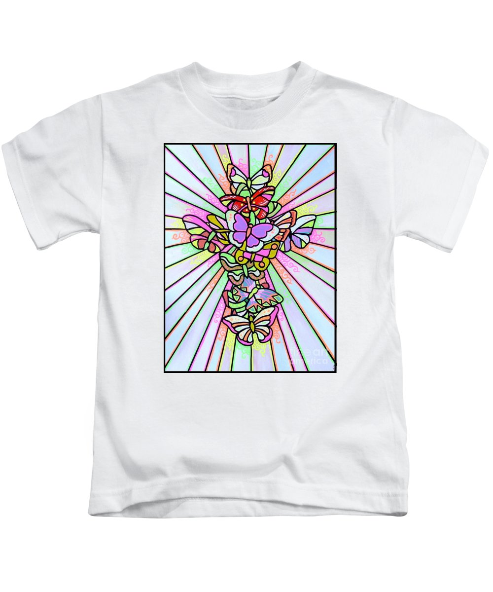 Cross. Easter Kids T-Shirt featuring the painting Butterfly Cross by Jim Harris