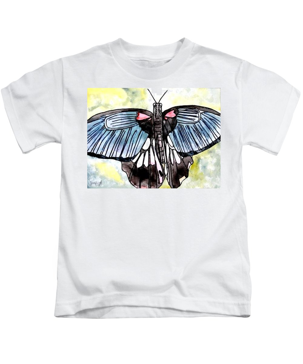 Watercolor Kids T-Shirt featuring the painting Butterfly Macro by Derek Mccrea