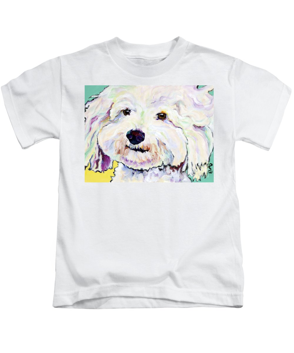 Bischon Kids T-Shirt featuring the painting Buttons  by Pat Saunders-White