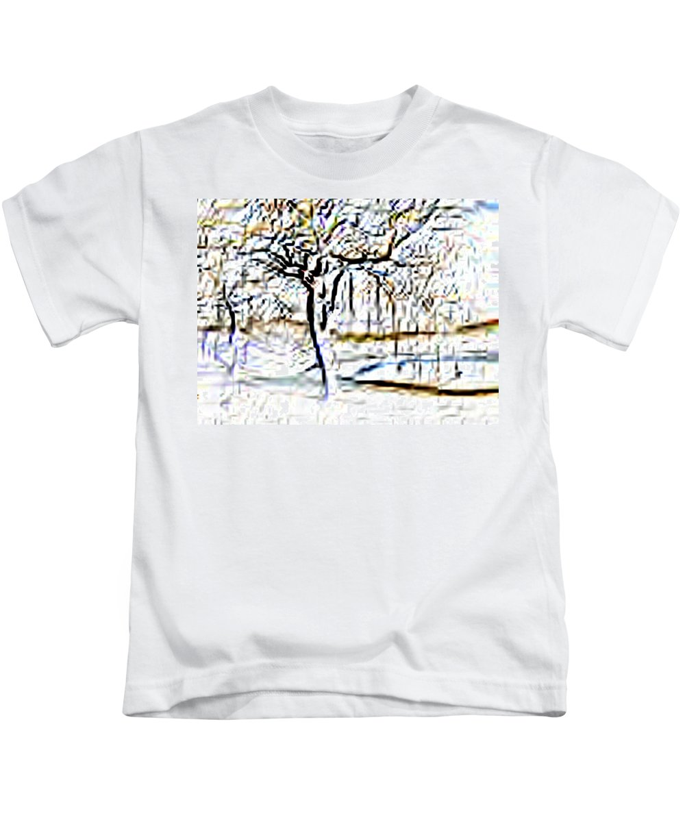 Tree Kids T-Shirt featuring the photograph By Waters Edge by Tim Allen