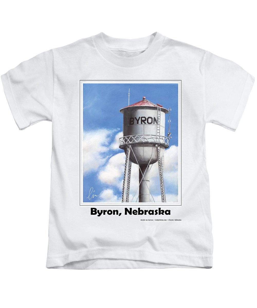 Bryon Kids T-Shirt featuring the painting Byron Water Tower Poster by Cindy D Chinn