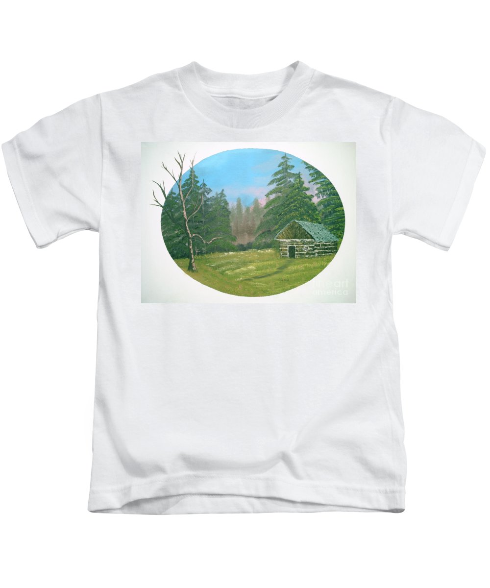 Landscape Kids T-Shirt featuring the painting Cabin In The Meadow by Jim Saltis