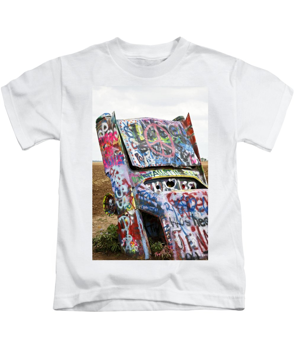 Americana Kids T-Shirt featuring the photograph Cadillac Ranch by Marilyn Hunt