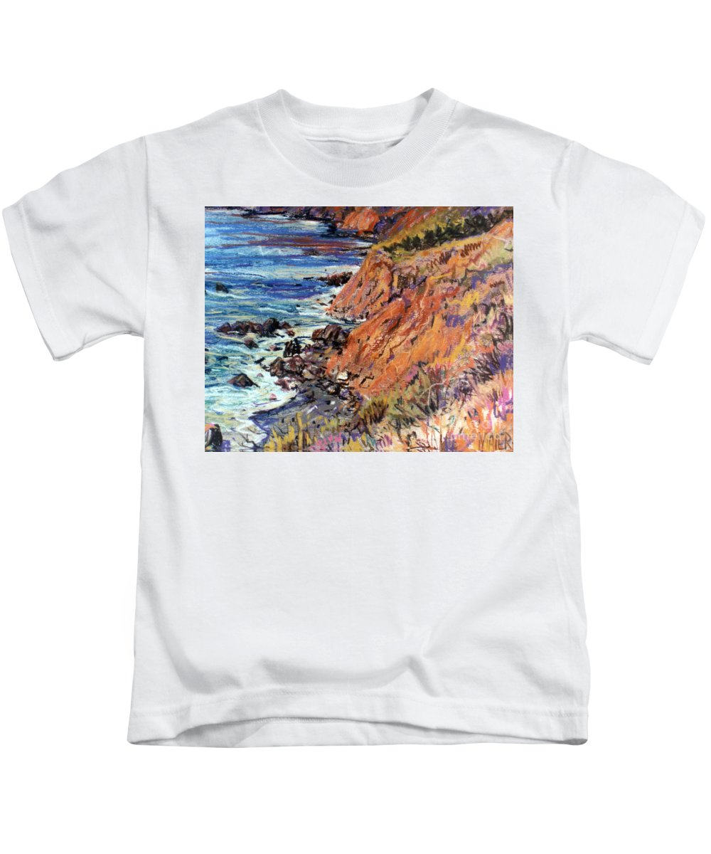 Big Sur Kids T-Shirt featuring the drawing California Coast by Donald Maier