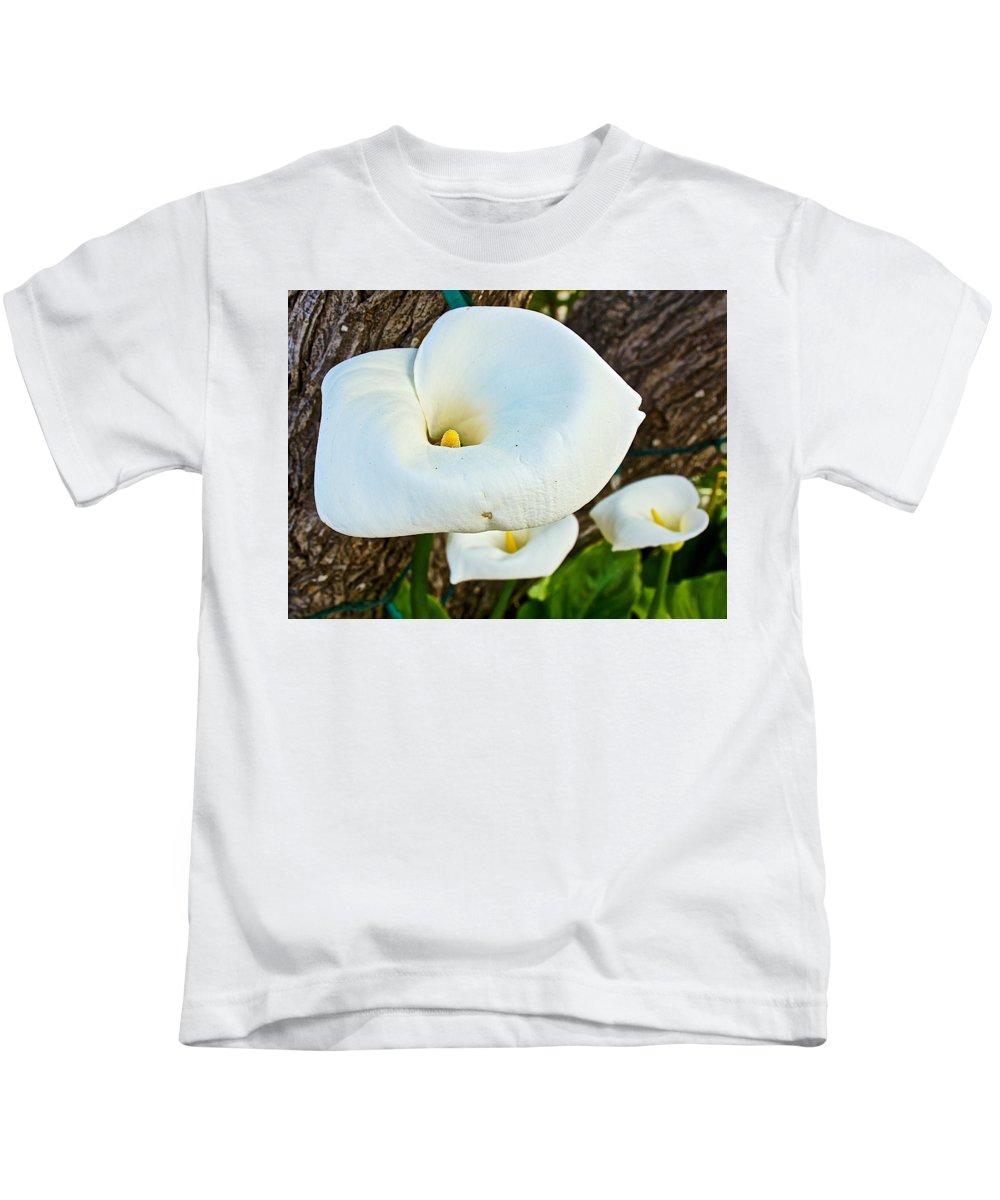 Calla Lily At Carmel Mission Kids T-Shirt featuring the photograph Calla Lily At Carmel Mission-california by Ruth Hager