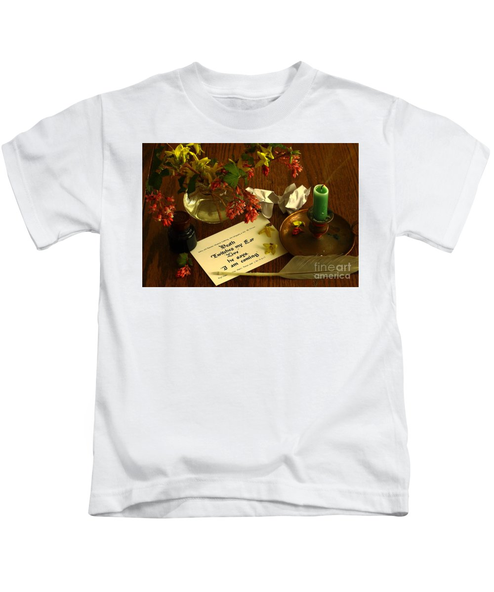 Calligraphy Kids T-Shirt featuring the photograph Calligraphy Still Life - Death II by Shadedfaces