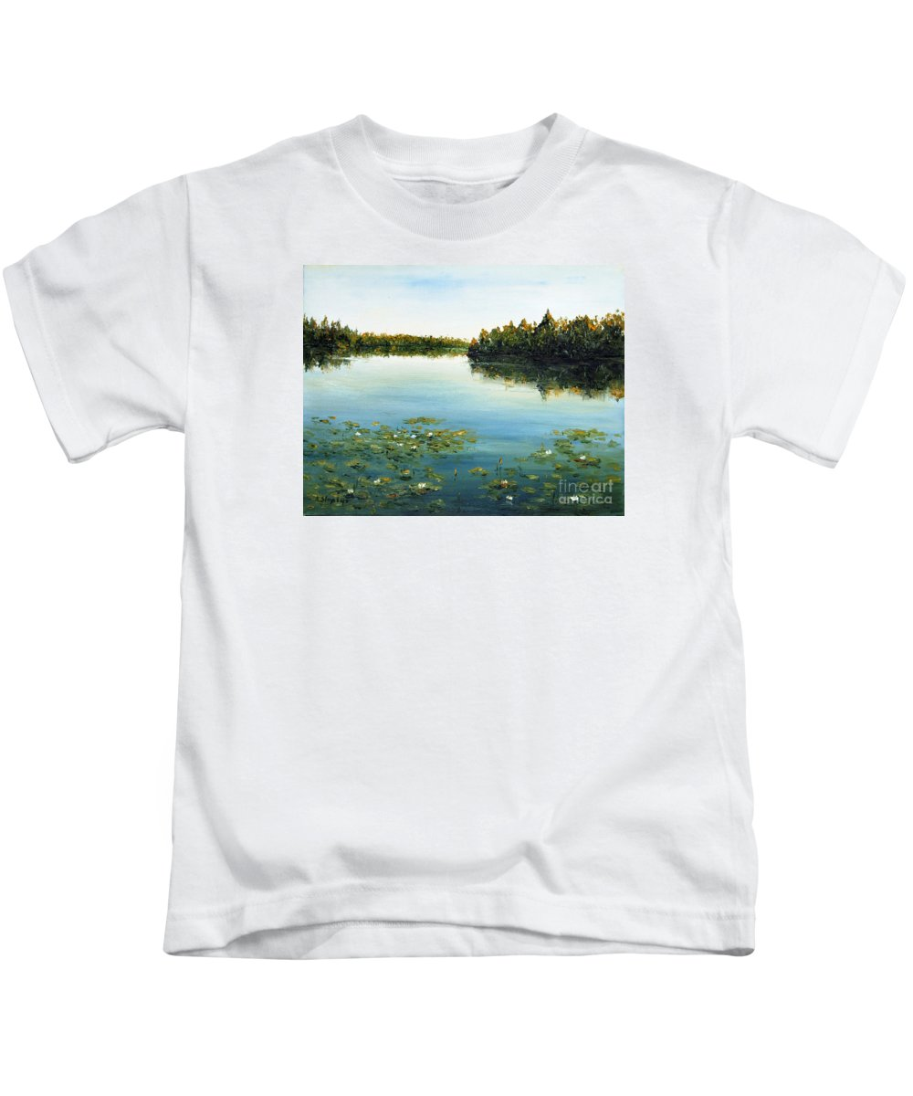 Landscape Kids T-Shirt featuring the painting Calm by Arturas Slapsys
