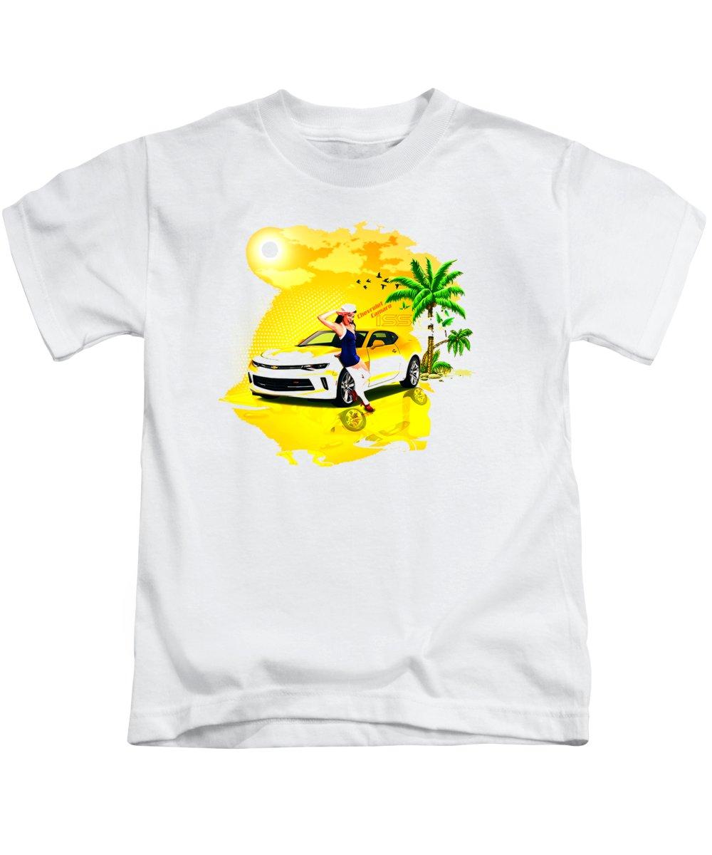 Camaro Kids T-Shirt featuring the digital art Camaro by Hannah Dori
