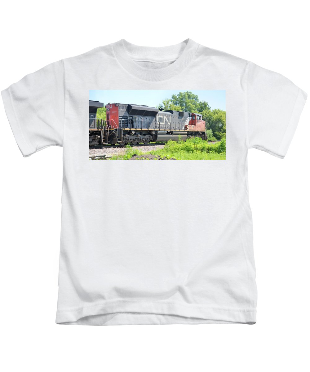 Train Kids T-Shirt featuring the photograph Canadian Northern by Bonfire Photography