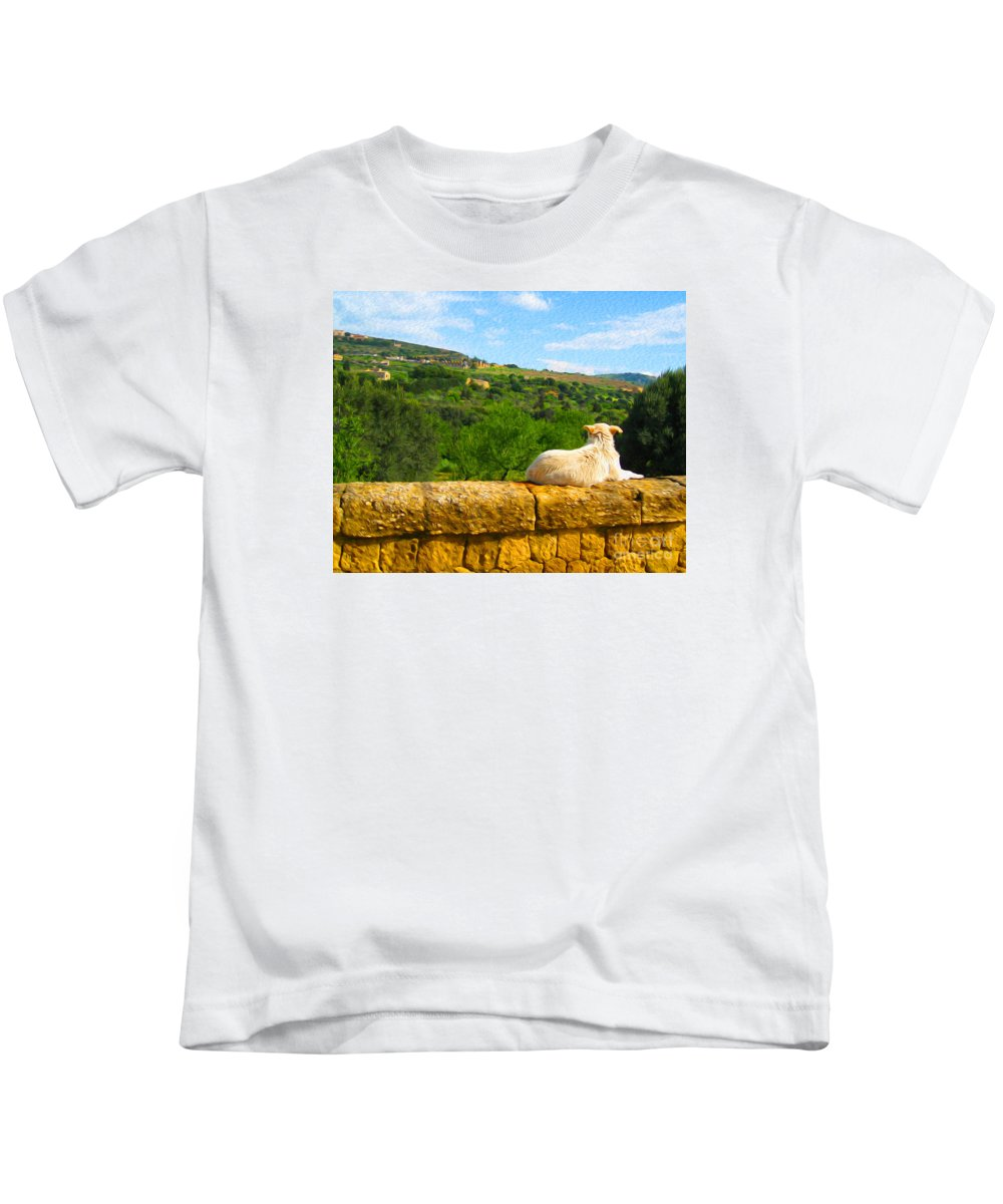 Kids T-Shirt featuring the digital art Cano Di Agrigento by Joseph Re