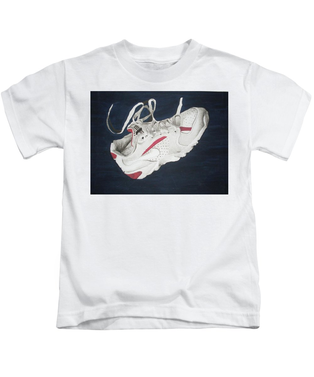 Shoes Kids T-Shirt featuring the painting Canvass by Olaoluwa Smith
