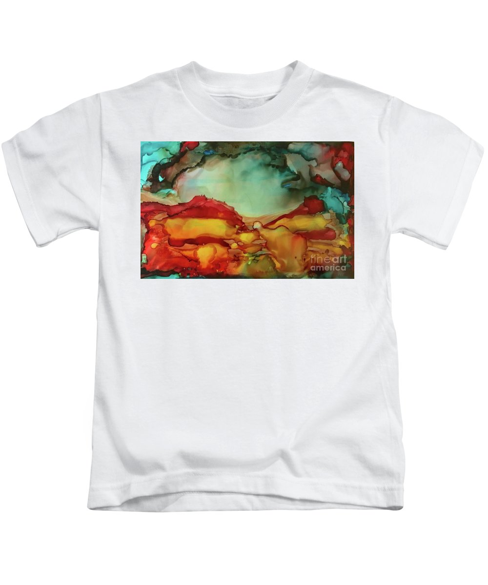 Dynamic And Brilliant Orange Kids T-Shirt featuring the painting Canyon Storm by Leti C Stiles