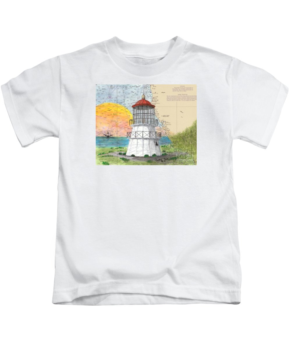 Cape Kids T-Shirt featuring the painting Cape Mendocino Lighthouse Ca Nautical Chart Map by Cathy Peek