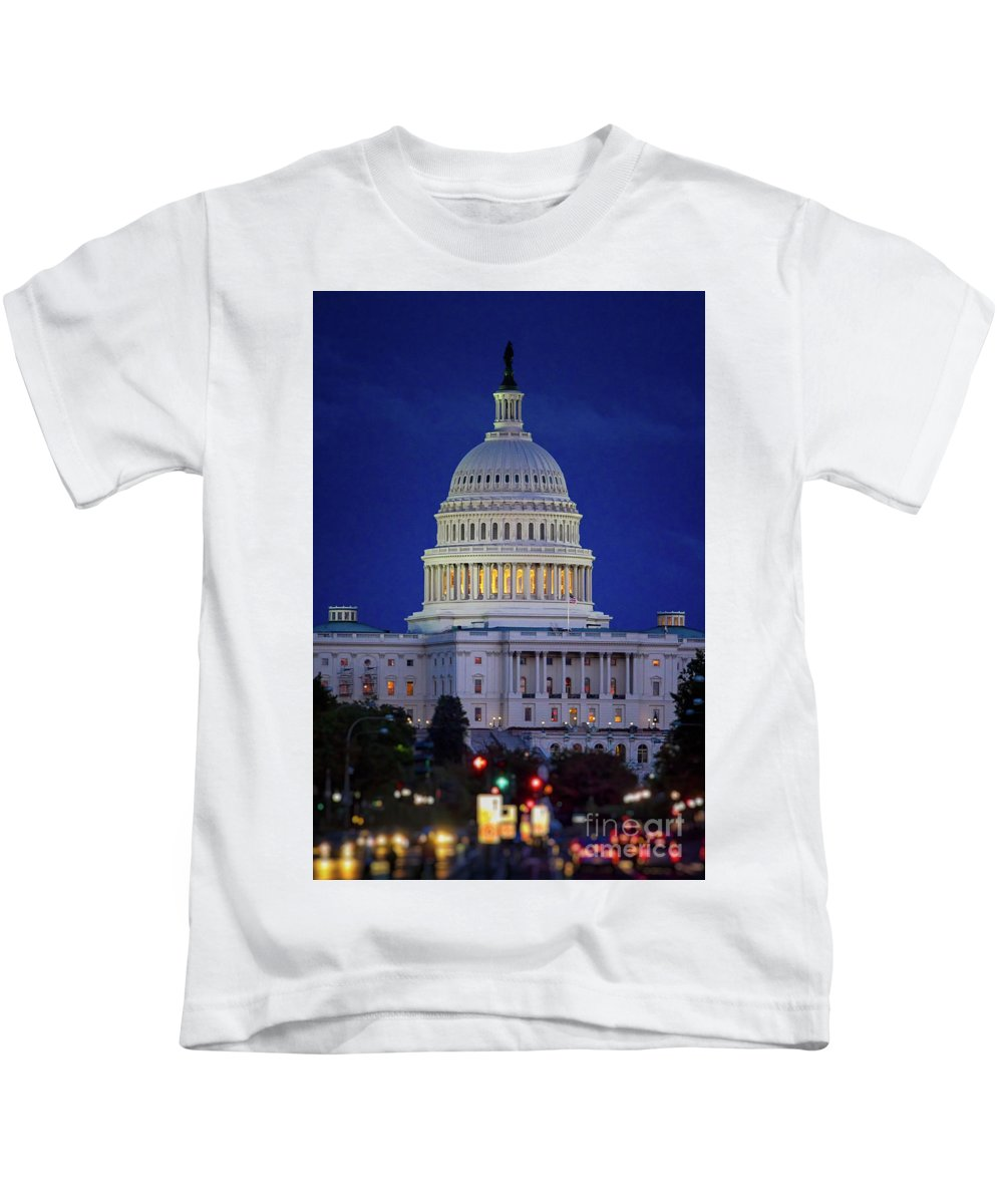 Us Capitol Kids T-Shirt featuring the photograph Capitol At Dusk by Doug Sturgess