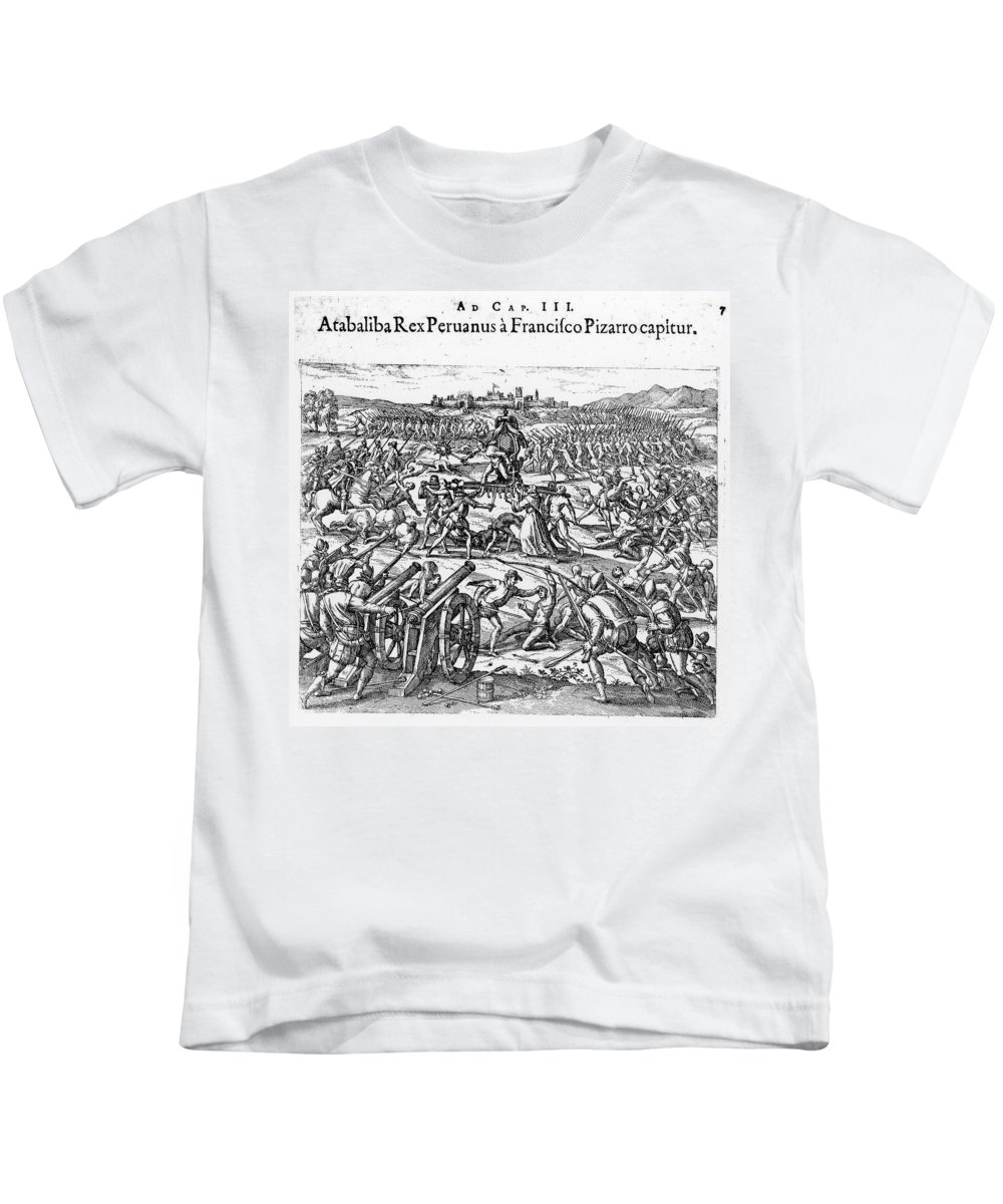 1532 Kids T-Shirt featuring the photograph Capture Of Atahualpa, 1532 by Granger