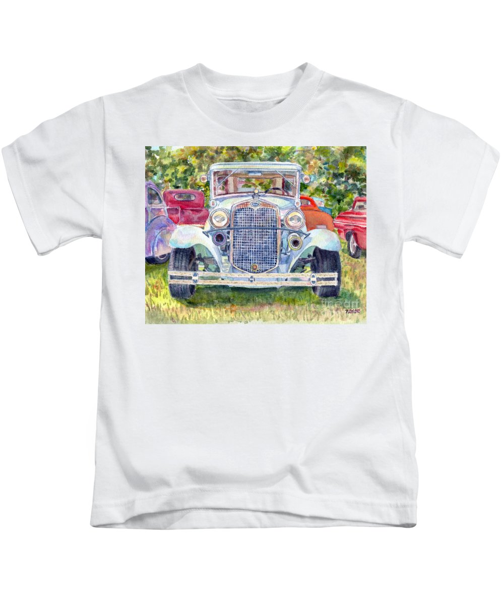 Antique Ford Kids T-Shirt featuring the painting Car Show by Pamela Parsons