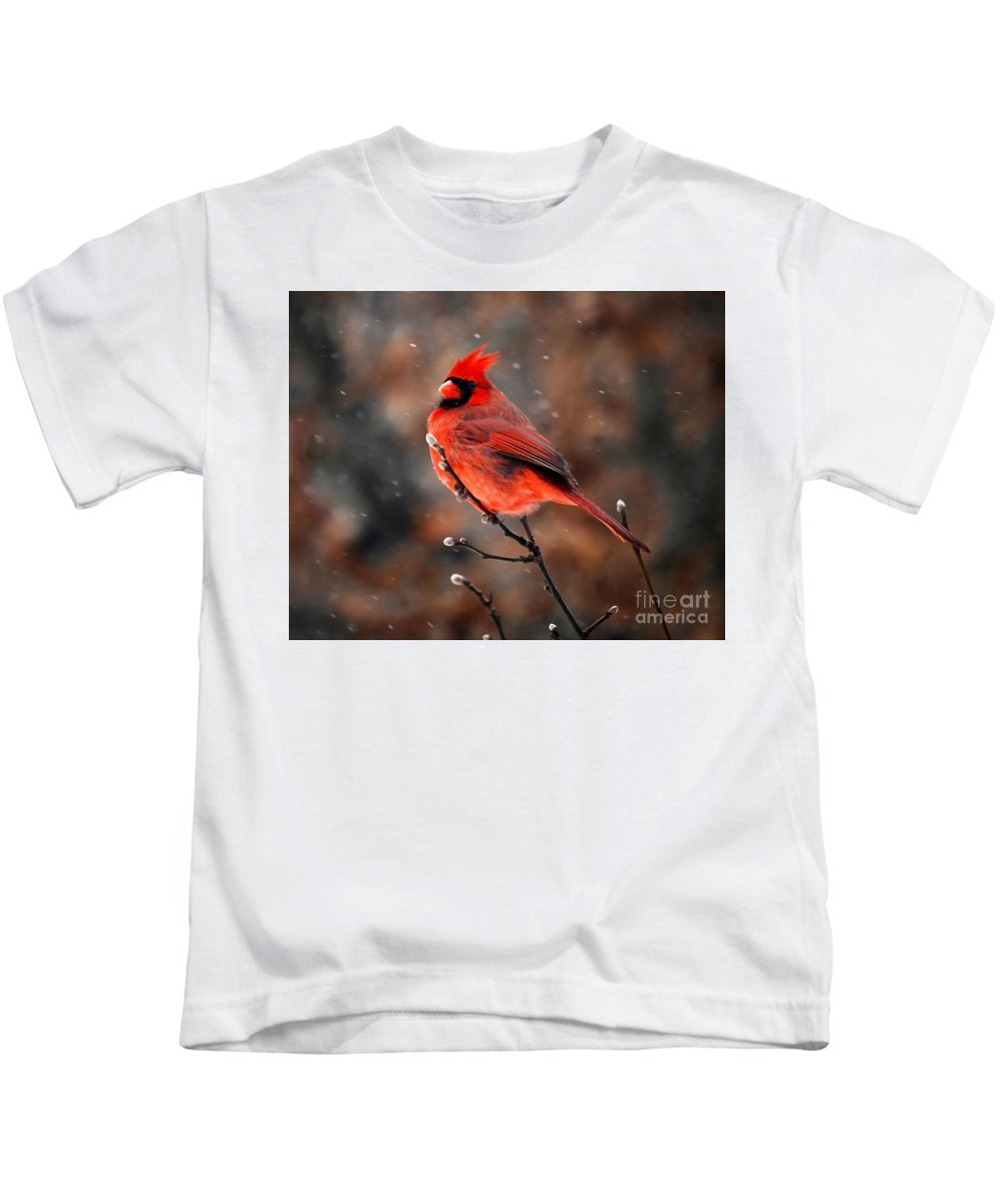 Cardinal Kids T-Shirt featuring the photograph Cardinal On A Snowy Day by Catherine Sherman