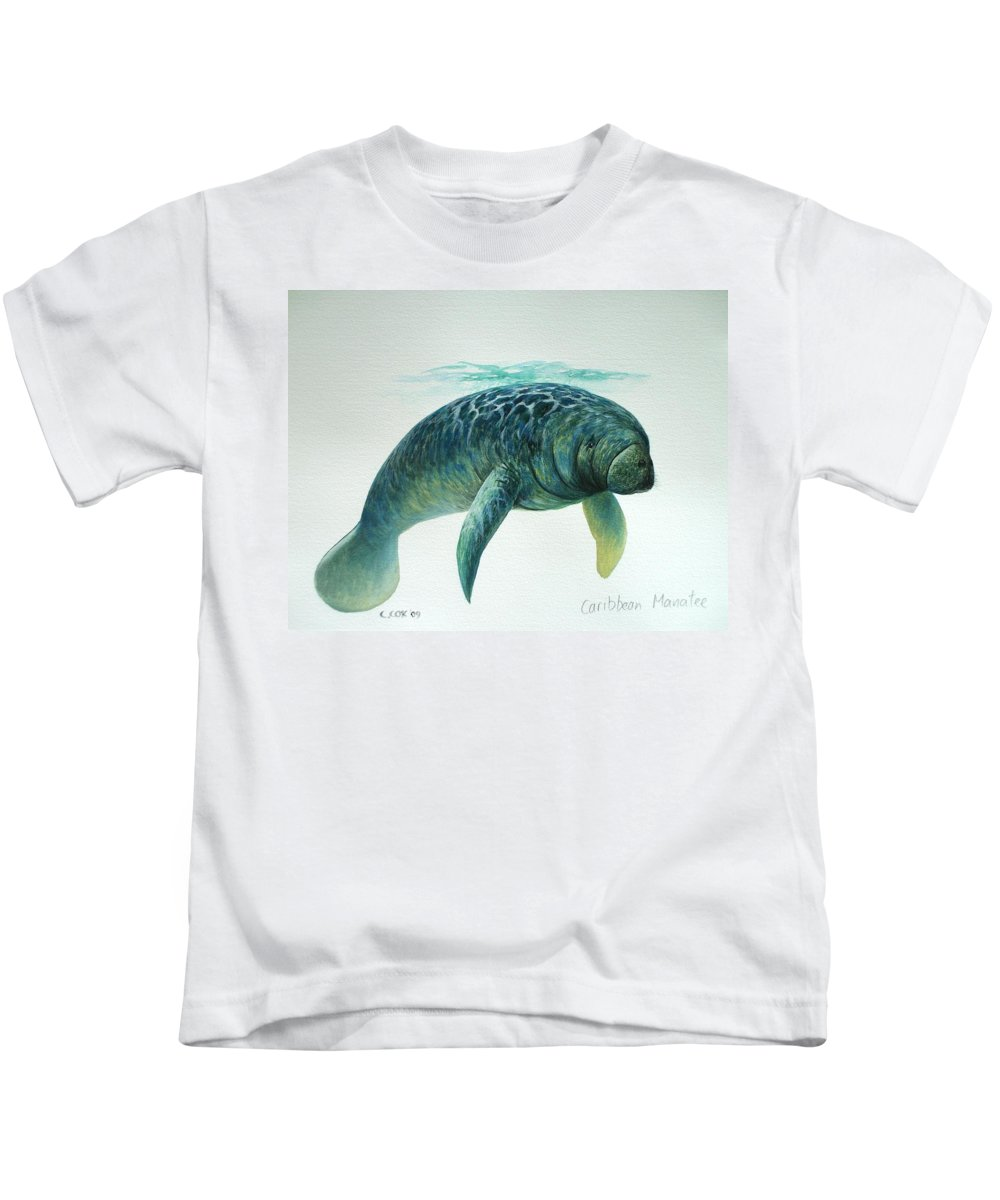 Manatee Kids T-Shirt featuring the painting Caribbean Manatee by Christopher Cox